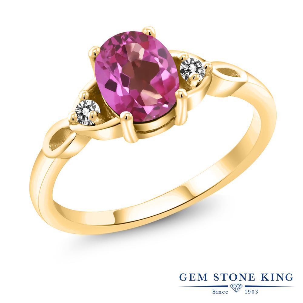 1.37カラット 天然 ミスティックトパーズ (ピンク) 指輪 レディース リング ダイヤモンド イエローゴールド 加工 レディース シルバー925 大粒 シンプル スリーストーン 天然石 金属アレルギー対応