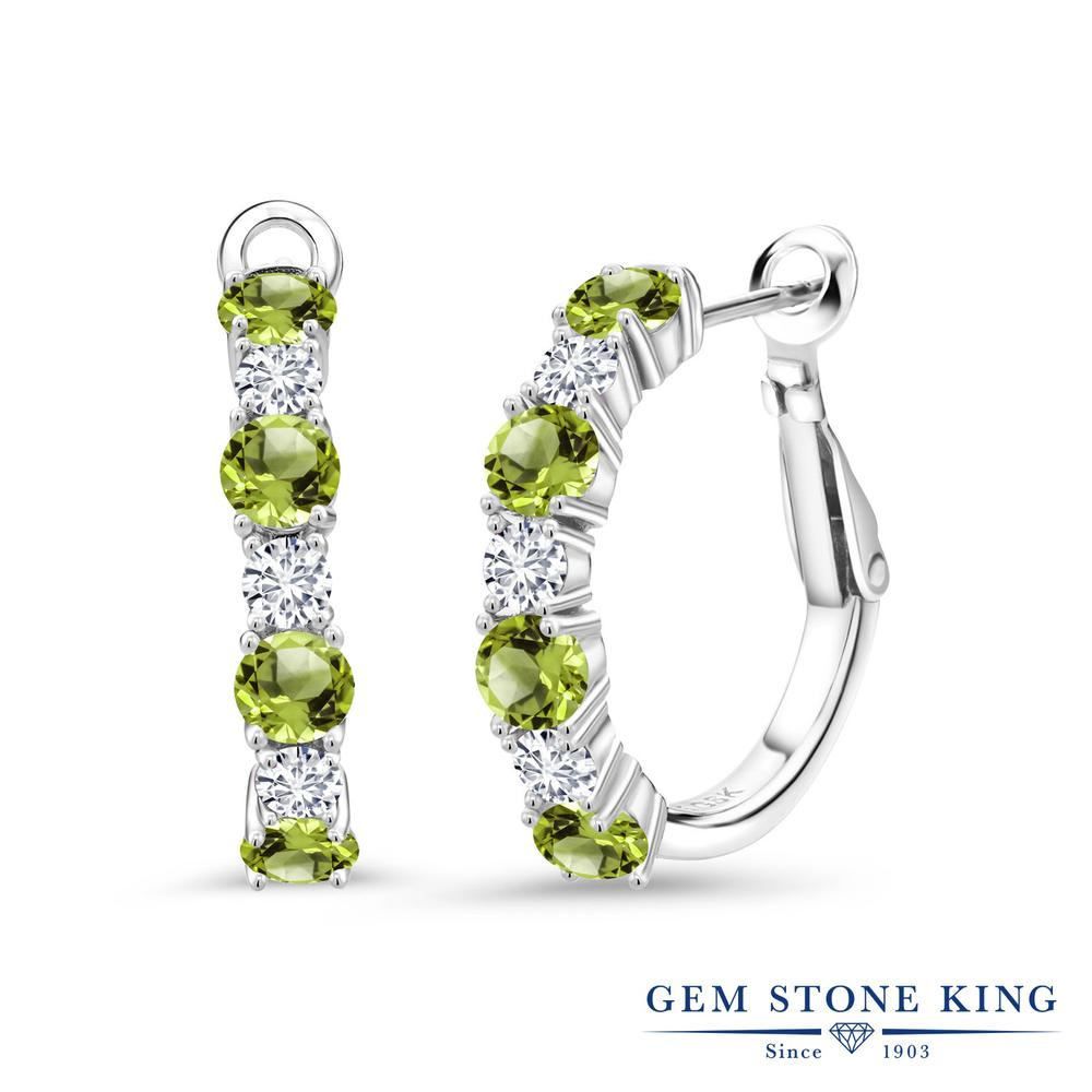 Created Moissanite by Charles /& Colvard and Peridot KLM 925 Sterling Silver 3-Stone Ring Forever Classic DEW Round 0.50ct