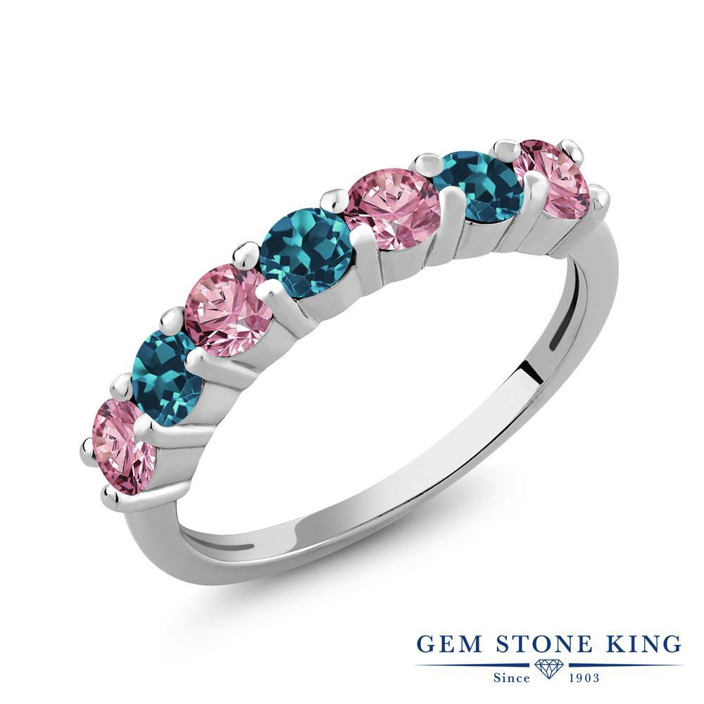 1.38カラット 合成ピンクダイヤモンド 指輪 レディース リング 天然 ロンドンブルートパーズ シルバー925 ブランド おしゃれ ピンク ダイヤ 小粒 プレゼント 女性 彼女 妻 誕生日
