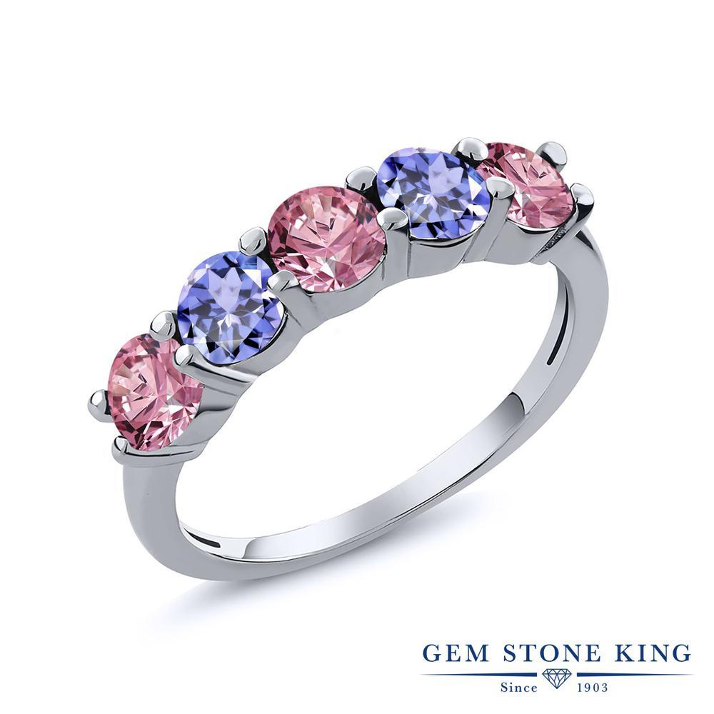リング レディース 人気 値引き ブランド 女性 プレゼント 0.9カラット 合成ピンクダイヤモンド 指輪 交換無料 天然石 タンザナイト ホワイトデー 誕生日 おしゃれ 彼女 5連 シルバー925 ピンク お返し 小粒 妻 ダイヤ