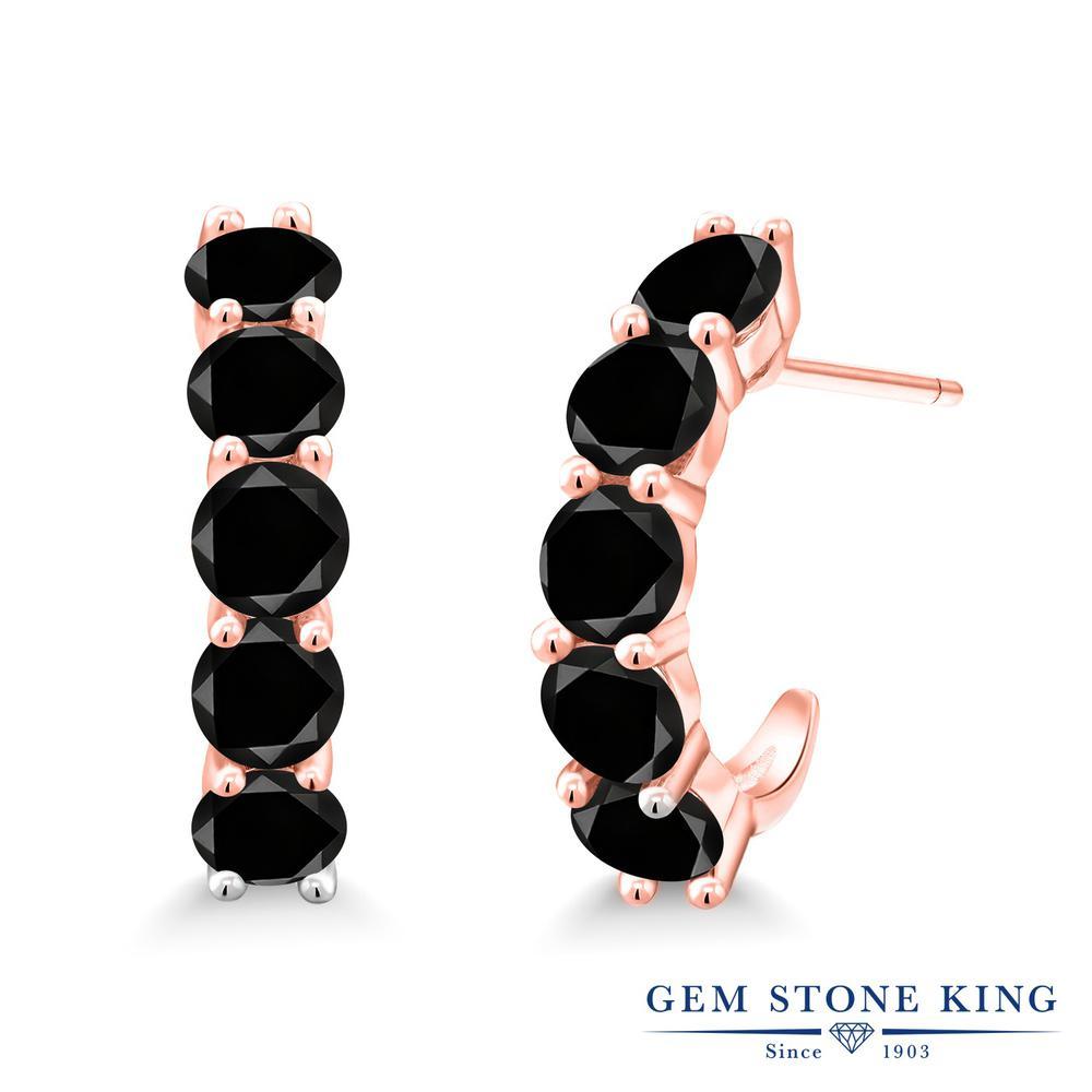 3.7カラット ブラックダイヤモンド ピアス レディース ピンクゴールド 加工 シルバー925 ブランド おしゃれ 5連 ブラック ダイヤ 黒 小粒 フープ 華奢 細身 天然石 4月 誕生石 金属アレルギー対応