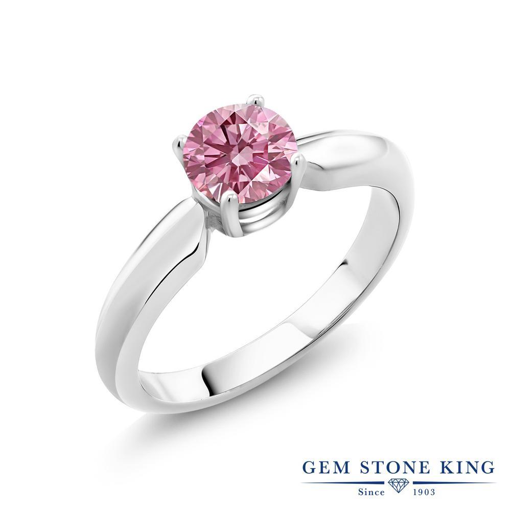 0.5カラット 合成ピンクダイヤモンド 指輪 レディース リング シルバー925 ブランド おしゃれ 一粒 ピンク ダイヤ 小粒 シンプル ソリティア プレゼント 女性 彼女 妻 誕生日