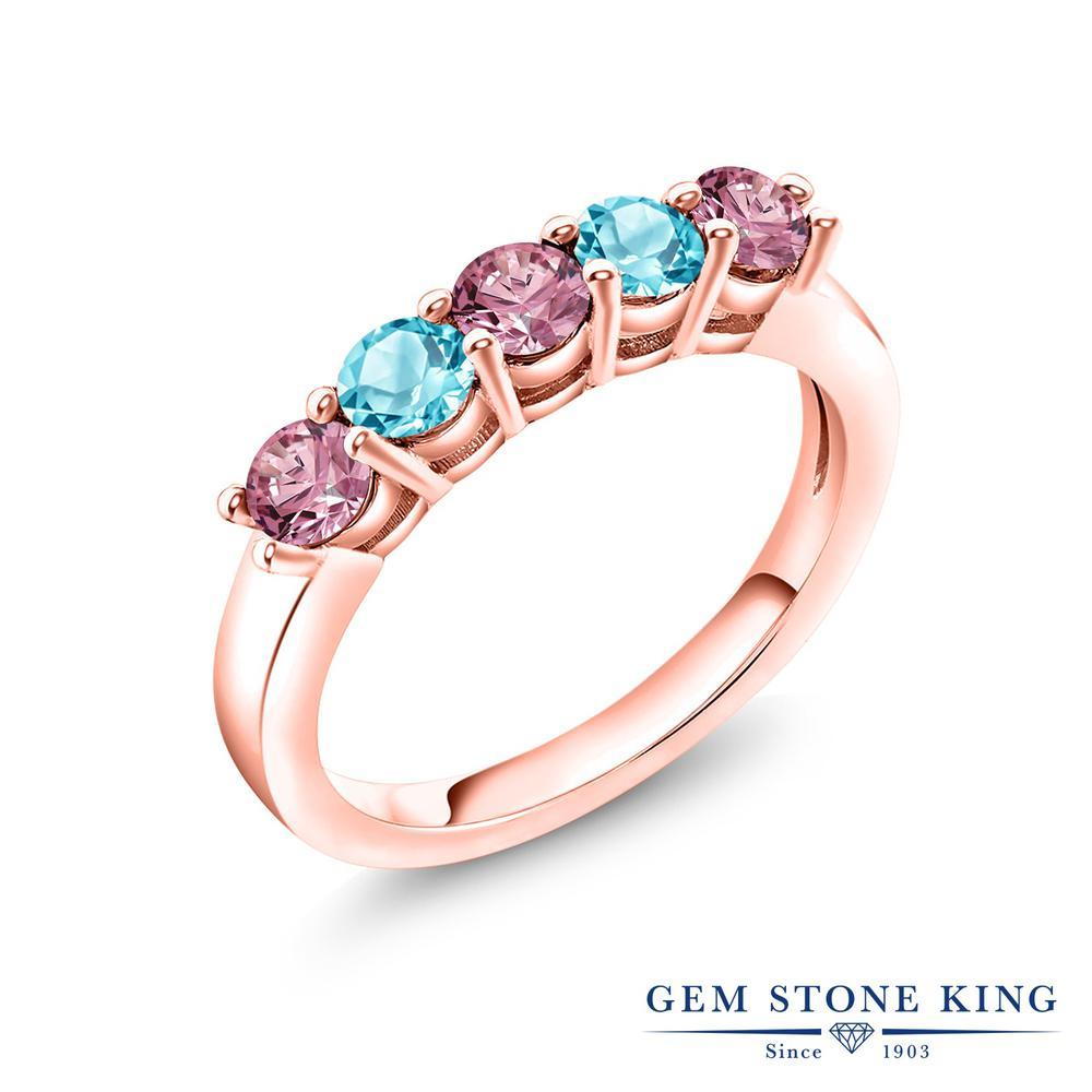 リング レディース 人気 ブランド 女性 プレゼント 0.94カラット 合成ピンクダイヤモンド 指輪 天然 スイスブルートパーズ ピンクゴールド 加工 妻 5連 与え 彼女 年間定番 ダイヤ おしゃれ お返し バンド 小粒 ホワイトデー 誕生日 ピンク シルバー925