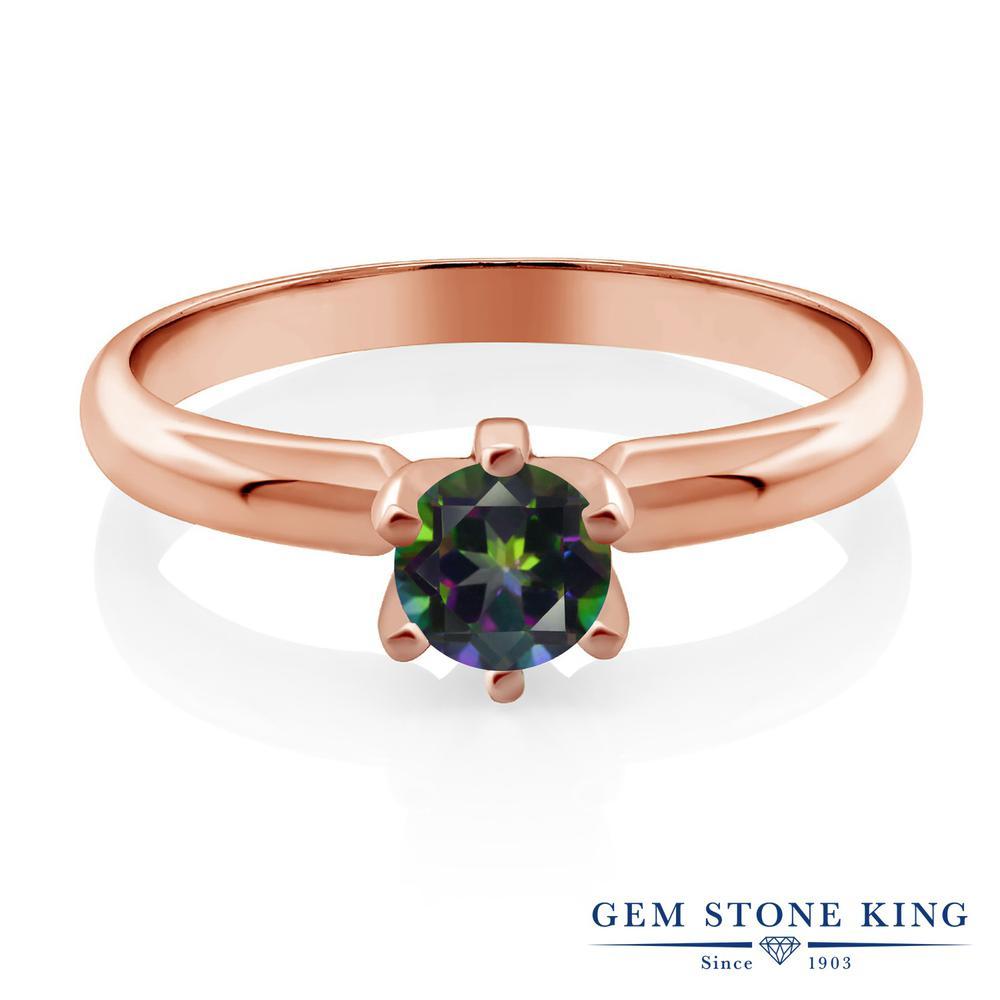 0.55カラット 天然石 ミスティックトパーズ (グリーン) 指輪 レディース リング ピンクゴールド 加工 シルバー925 ブランド おしゃれ 一粒 緑 シンプル 金属アレルギー対応