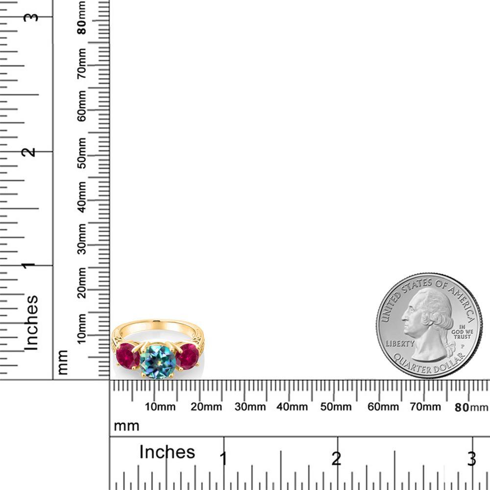 4カラット 天然 ミスティックトパーズミレニアムブルー指輪 レディース リング 合成ルビー イエローゴールド 加工 シルバー925 ブランド おしゃれ アラベスク 細工 大粒 シンプル スリーストーン 天然石 金属アレルギー対応rBoxdCeW