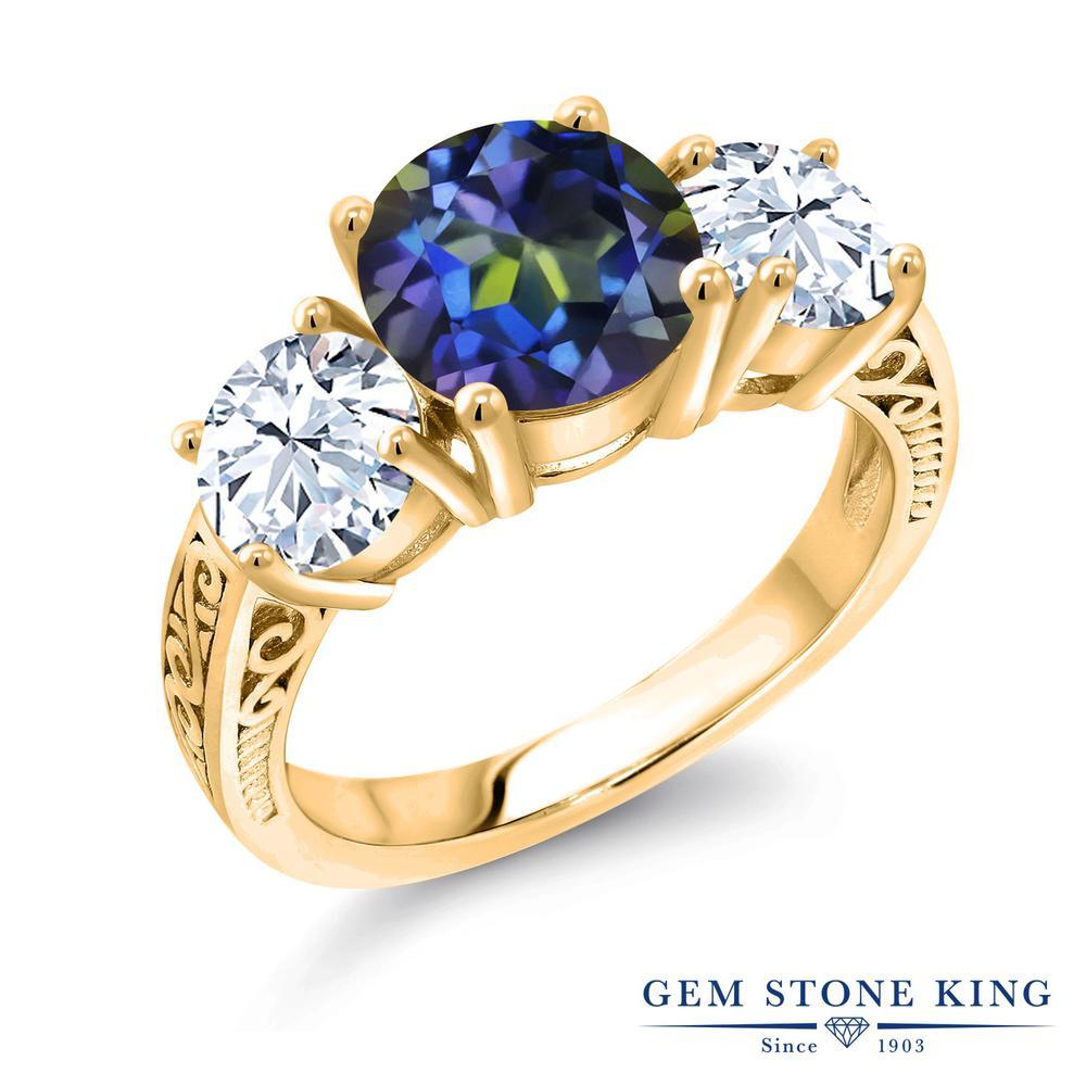 4カラット 天然石 ミスティックトパーズ (ブルー) 指輪 レディース リング 合成ホワイトサファイア イエローゴールド 加工 シルバー925 ブランド おしゃれ アラベスク 細工 青 大粒 シンプル スリーストーン 金属アレルギー対応