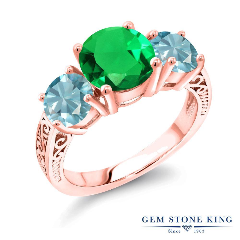 4.05カラット ナノエメラルド 指輪 レディース リング 天然石 ブルージルコン ピンクゴールド 加工 シルバー925 ブランド おしゃれ アラベスク 細工 緑 大粒 シンプル スリーストーン プレゼント 女性 彼女 妻 誕生日