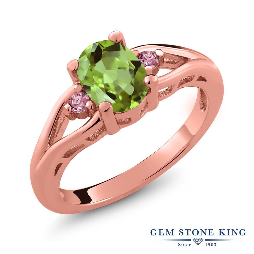 1.5カラット 天然石 ペリドット 指輪 レディース リング 合成ピンクダイヤモンド ピンクゴールド 加工 シルバー925 ブランド おしゃれ 緑 大粒 シンプル スリーストーン 8月 誕生石 プレゼント 女性 彼女 妻 誕生日