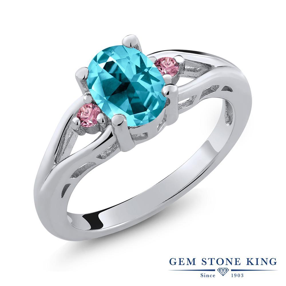 1.4カラット 天然石 パライバトパーズ (スワロフスキー 天然石) 指輪 レディース リング 合成ピンクダイヤモンド シルバー925 ブランド おしゃれ 一粒 大粒 シンプル スリーストーン プレゼント 女性 彼女 妻 誕生日