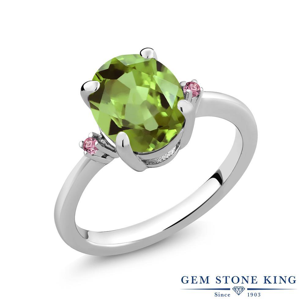 2.83カラット 天然石 ペリドット 指輪 レディース リング 合成ピンクダイヤモンド シルバー925 ブランド おしゃれ 緑 大粒 シンプル 8月 誕生石 プレゼント 女性 彼女 妻 誕生日