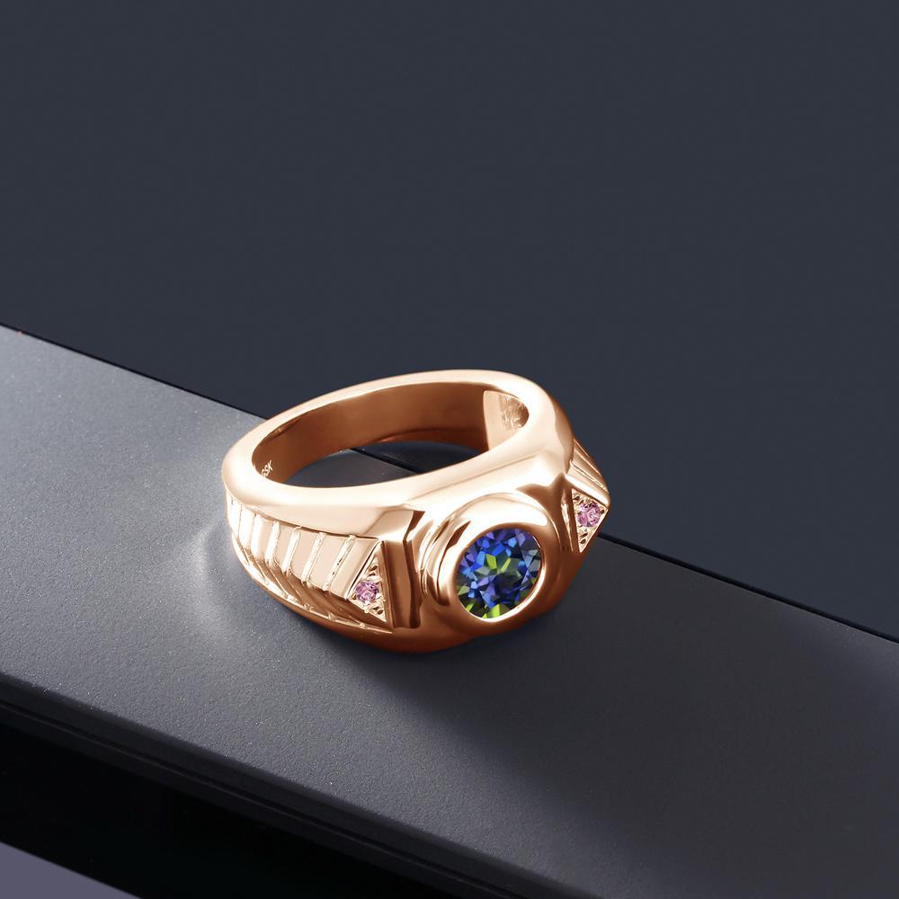 2 03カラット 天然石 ミスティックトパーズブルー指輪 レディース リング 合成ピンクダイヤモンド ピンクゴールド 加YbyvIf67g