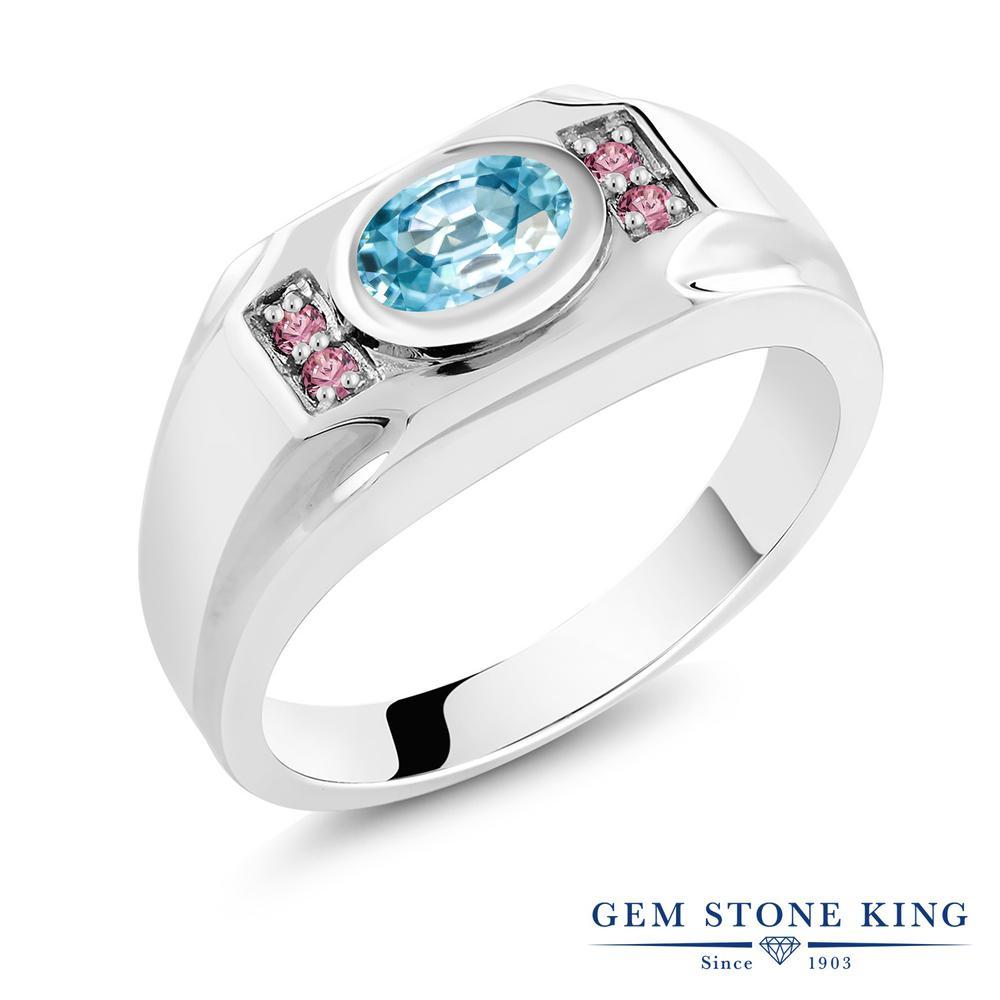 1.82カラット 天然石 ブルージルコン 指輪 レディース リング 合成ピンクダイヤモンド シルバー925 ブランド おしゃれ 青 大粒 12月 誕生石 プレゼント 女性 彼女 妻 誕生日