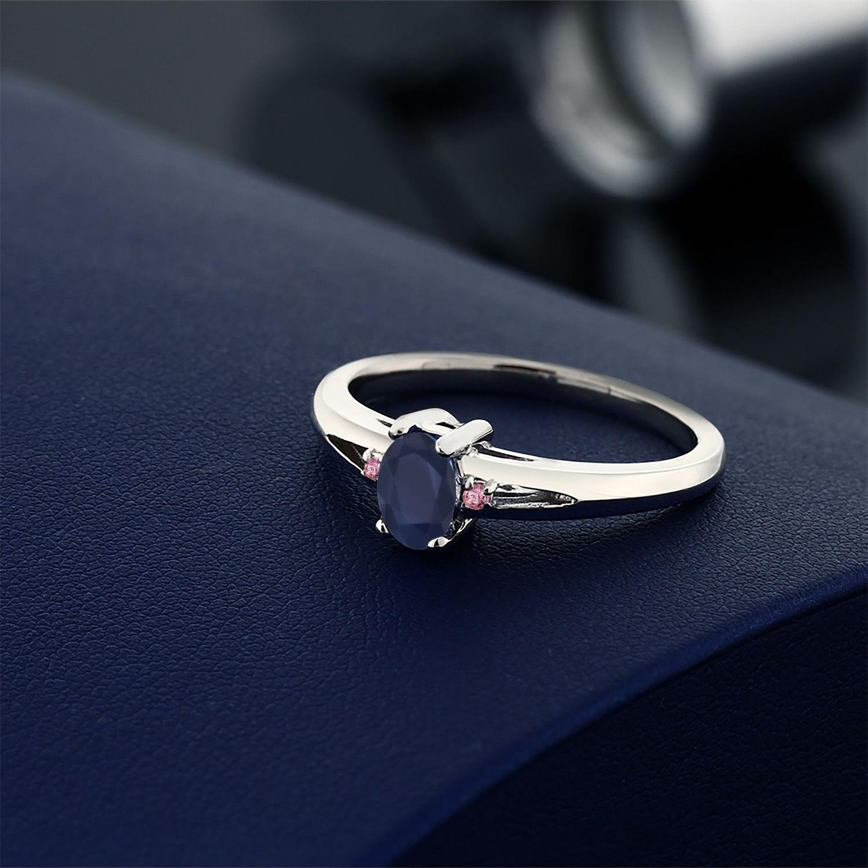 0 59カラット 天然 サファイア 指輪 レディース リング 合成ピンクダイヤモンド シルバー925 ブランド おしゃれ 青 シンプル 天然石 9月 誕生石 金属アレルギー対応vN08wnm