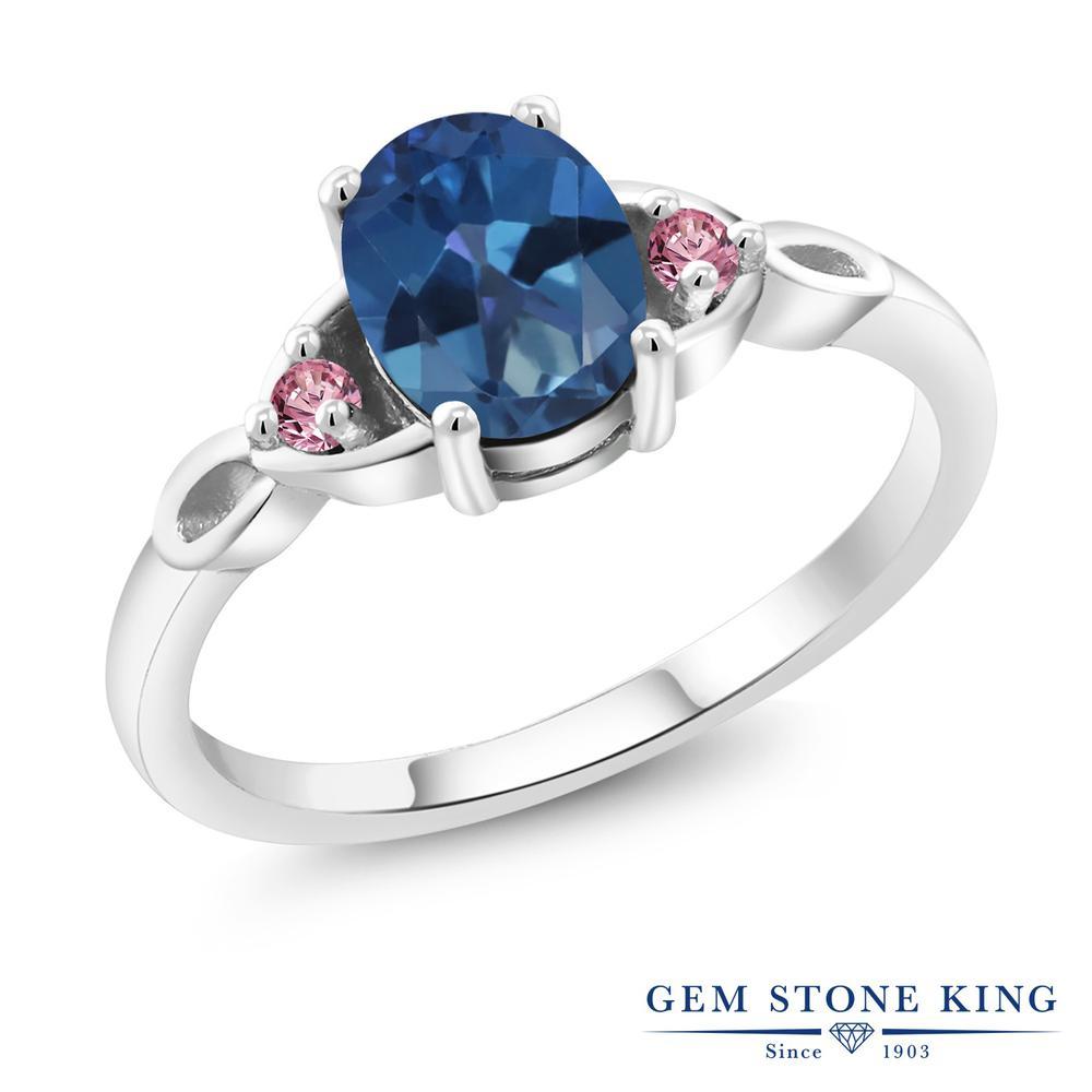 1.38カラット 天然 ミスティックトパーズ (サファイアブルー) 指輪 レディース リング 合成ピンクダイヤモンド シルバー925 ブランド おしゃれ 青 大粒 シンプル スリーストーン 天然石 プレゼント 女性 彼女 妻 誕生日