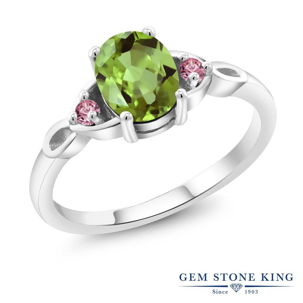 1.5カラット 天然石 ペリドット 指輪 レディース リング 合成ピンクダイヤモンド シルバー925 ブランド おしゃれ 緑 大粒 シンプル スリーストーン 8月 誕生石 プレゼント 女性 彼女 妻 誕生日