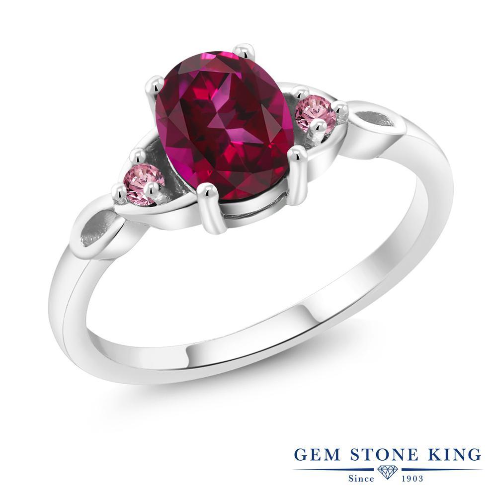1.4カラット 天然石 レッドトパーズ (スワロフスキー 天然石) 指輪 レディース リング 合成ピンクダイヤモンド シルバー925 ブランド おしゃれ 一粒 赤 大粒 シンプル スリーストーン プレゼント 女性 彼女 妻 誕生日