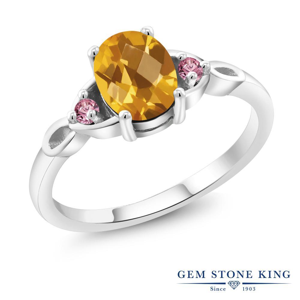 1.33カラット 天然 シトリン 指輪 レディース リング 合成ピンクダイヤモンド シルバー925 ブランド おしゃれ 黄色 大粒 シンプル スリーストーン 天然石 11月 誕生石 プレゼント 女性 彼女 妻 誕生日
