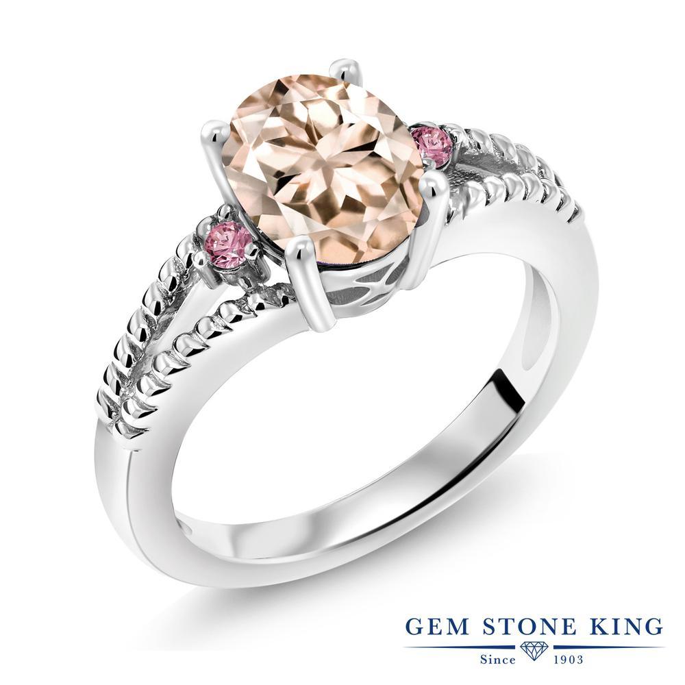 1.64カラット 天然 モルガナイト (ピーチ) 指輪 レディース リング 合成ピンクダイヤモンド シルバー925 ブランド おしゃれ ミル打ち ダブルライン 大粒 シンプル 天然石 3月 誕生石 プレゼント 女性 彼女 妻 誕生日