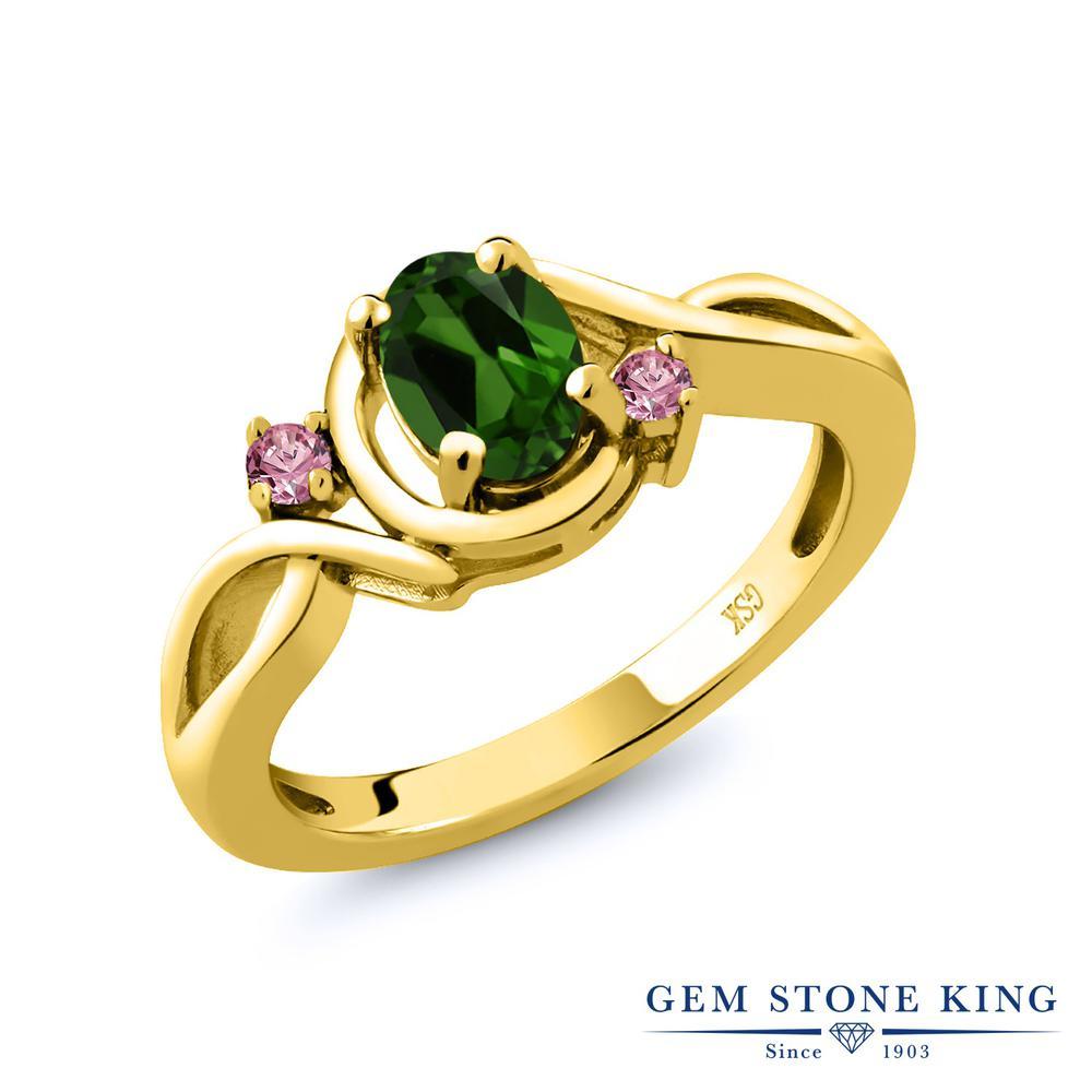 1.88カラット 天然 クロムダイオプサイド 指輪 レディース リング 合成ピンクダイヤモンド イエローゴールド 加工 シルバー925 ブランド おしゃれ ツイスト ねじれ 緑 大粒 シンプル 天然石 プレゼント 女性 彼女 妻 誕生日