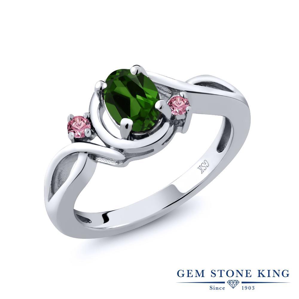 1.88カラット 天然 クロムダイオプサイド 指輪 レディース リング 合成ピンクダイヤモンド シルバー925 ブランド おしゃれ ツイスト ねじれ 緑 大粒 シンプル 天然石 プレゼント 女性 彼女 妻 誕生日