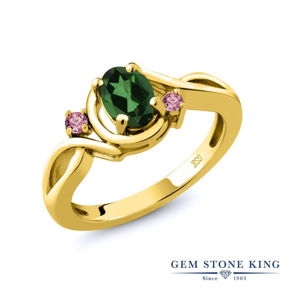 0.88カラット 天然石 ミスティックトパーズ (エメラルドグリーン) 指輪 レディース リング 合成ピンクダイヤモンド イエローゴールド 加工 シルバー925 ブランド おしゃれ ツイスト ねじれ シンプル プレゼント 女性 彼女 妻 誕生日