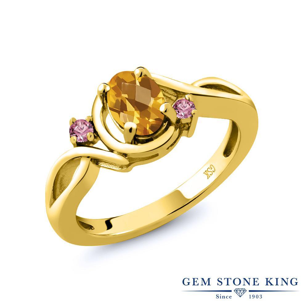 0.8カラット 天然 シトリン 指輪 レディース リング 合成ピンクダイヤモンド イエローゴールド 加工 シルバー925 ブランド おしゃれ ツイスト ねじれ 黄色 シンプル 天然石 11月 誕生石 プレゼント 女性 彼女 妻 誕生日
