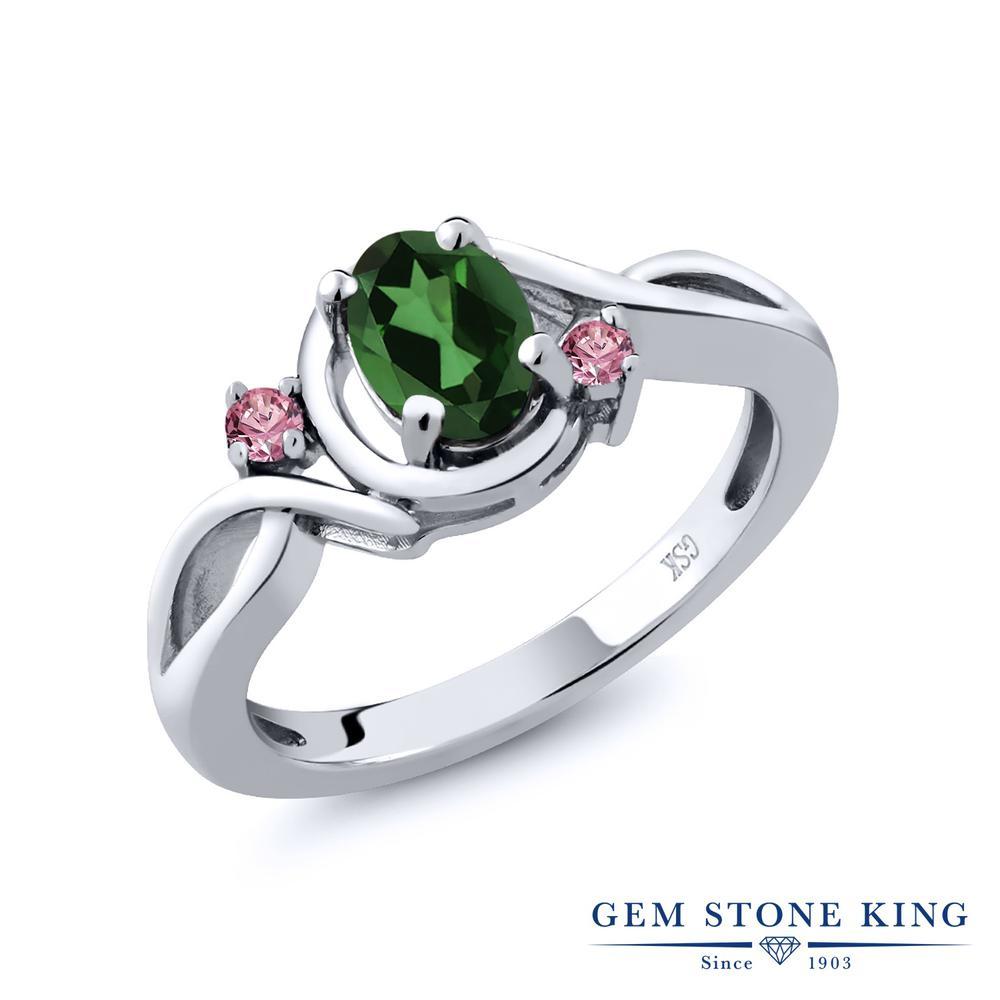 0.88カラット 天然石 ミスティックトパーズ (エメラルドグリーン) 指輪 レディース リング 合成ピンクダイヤモンド シルバー925 ブランド おしゃれ ツイスト ねじれ シンプル プレゼント 女性 彼女 妻 誕生日