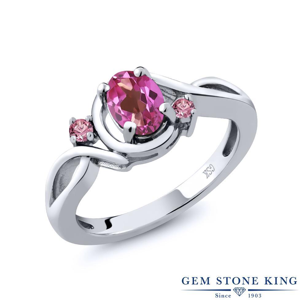 0.88カラット 天然 ミスティックトパーズ (ピンク) 指輪 レディース リング 合成ピンクダイヤモンド シルバー925 ブランド おしゃれ ツイスト ねじれ シンプル 天然石 プレゼント 女性 彼女 妻 誕生日
