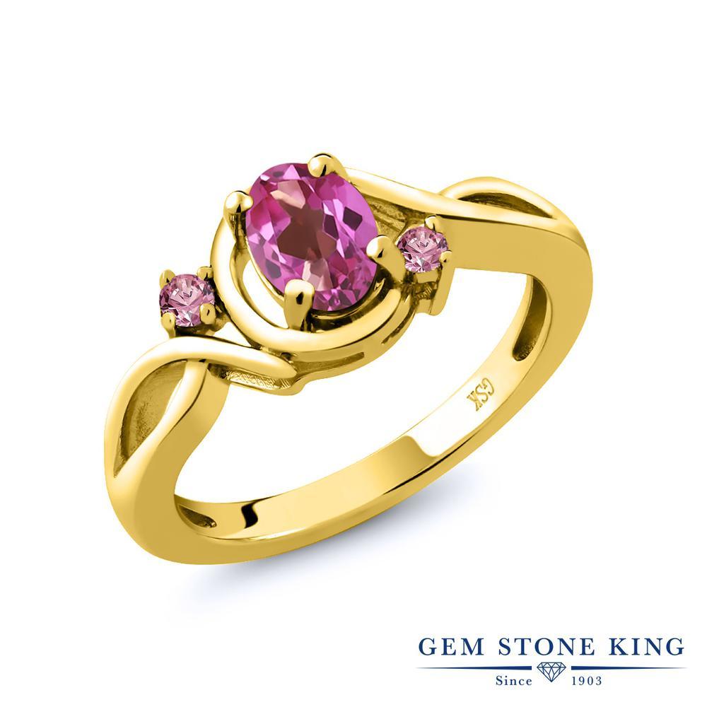 0.88カラット 天然 ミスティックトパーズ (ピンク) 指輪 レディース リング 合成ピンクダイヤモンド イエローゴールド 加工 シルバー925 ブランド おしゃれ ツイスト ねじれ シンプル 天然石 プレゼント 女性 彼女 妻 誕生日