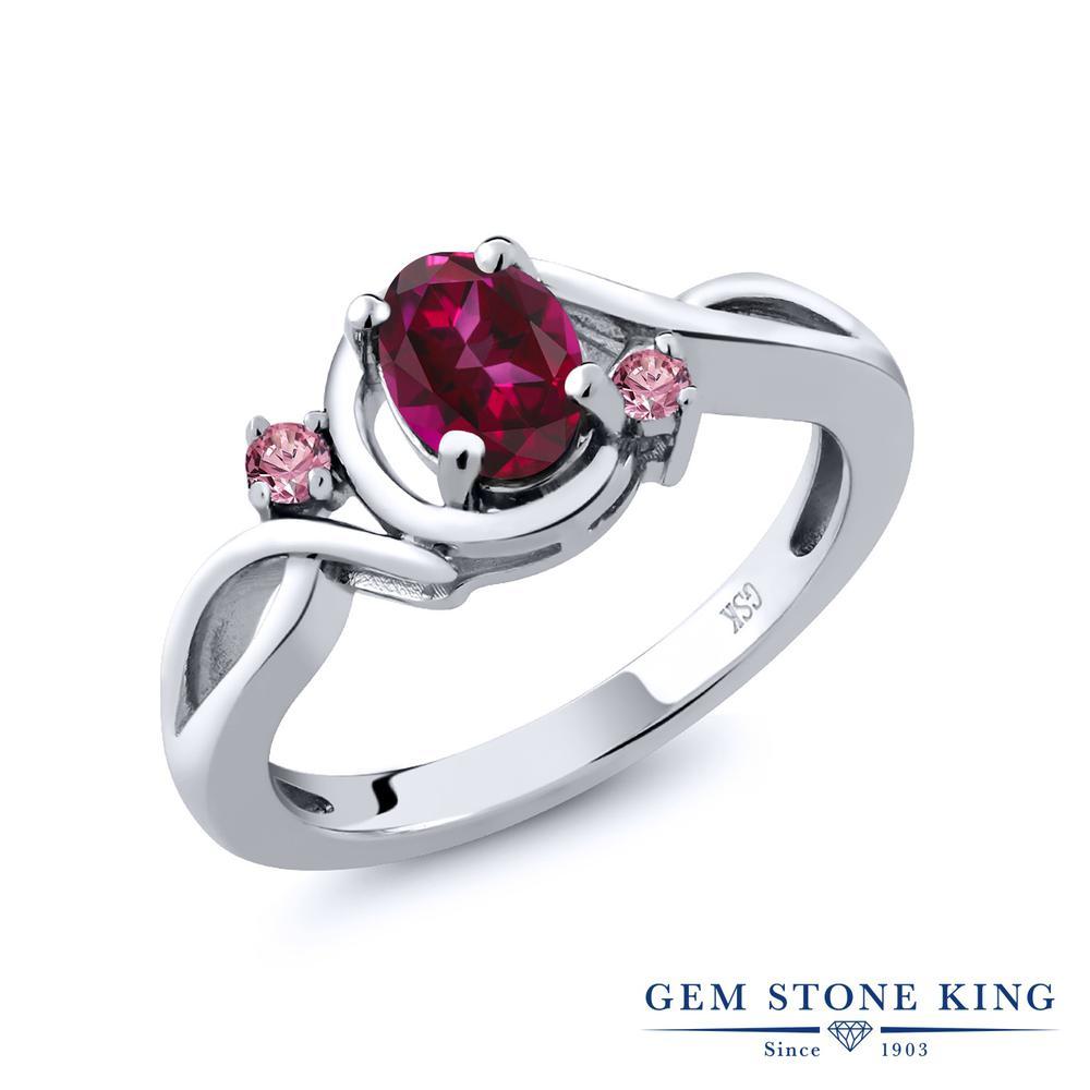 1.08カラット 天然石 レッドトパーズ (スワロフスキー 天然石) 指輪 レディース リング 合成ピンクダイヤモンド シルバー925 ブランド おしゃれ ツイスト ねじれ 赤 大粒 シンプル プレゼント 女性 彼女 妻 誕生日