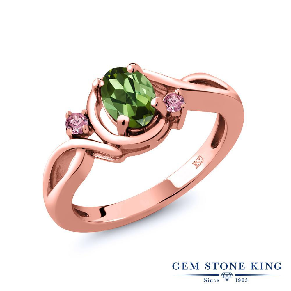 0.78カラット 天然 グリーントルマリン 指輪 レディース リング 合成ピンクダイヤモンド ピンクゴールド 加工 シルバー925 ブランド おしゃれ ツイスト ねじれ 緑 シンプル 天然石 10月 誕生石 プレゼント 女性 彼女 妻 誕生日