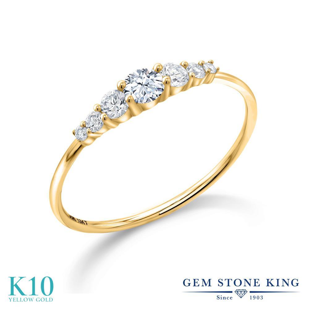 0.32カラット 合成ホワイトサファイア 指輪 レディース リング 合成ダイヤモンド 10金 イエローゴールド K10 ブランド おしゃれ 白 小粒 細身 マルチストーン プレゼント 女性 彼女 妻 誕生日