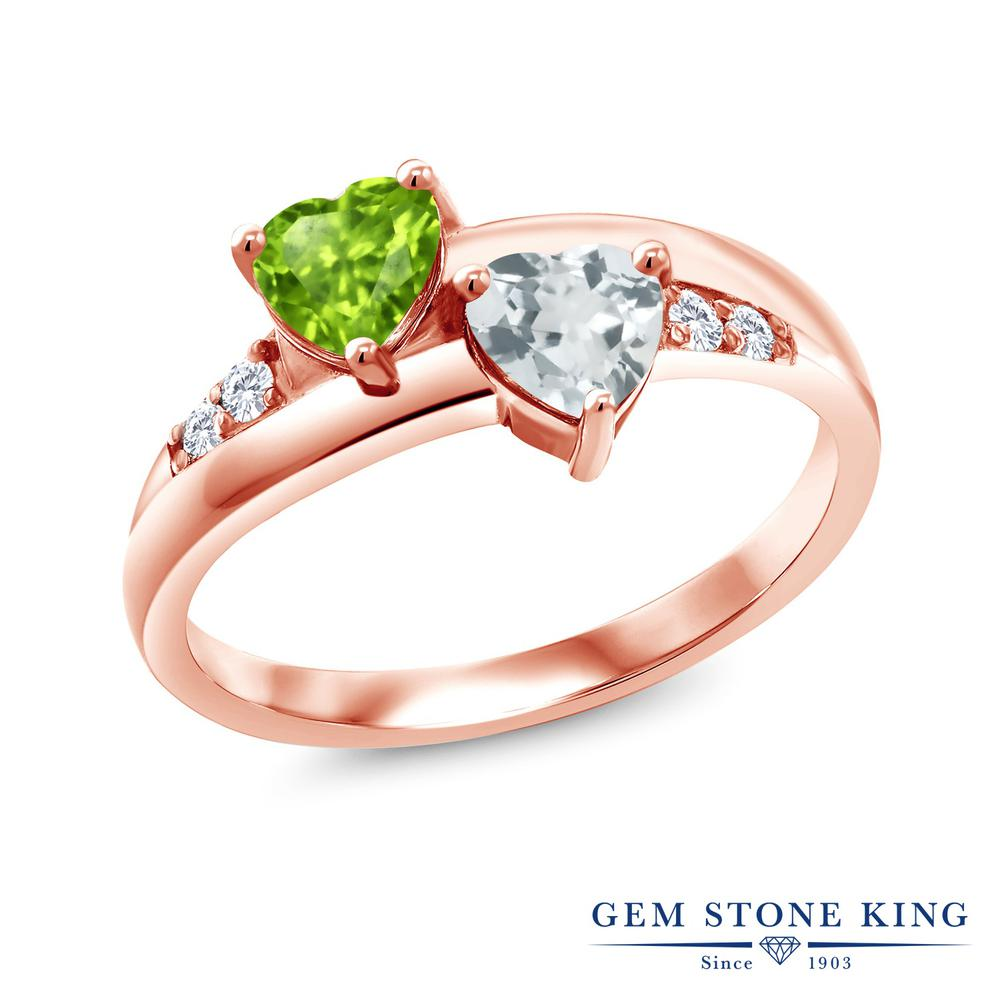1カラット 天然石 ペリドット 指輪 レディース リング 天然 アクアマリン 合成ダイヤモンド ピンクゴールド 加工 シルバー925 ブランド おしゃれ ハート 2連 緑 小粒 8月 誕生石 金属アレルギー対応