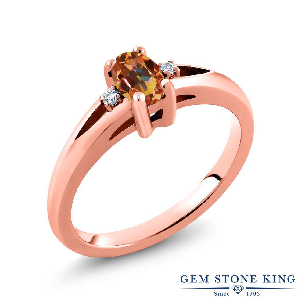 0 53カラット 天然石 エクスタシーミスティックトパーズ 指輪 レディース リング 天然 ダイヤモンド ピンクゴールド 加工IYE29WDH