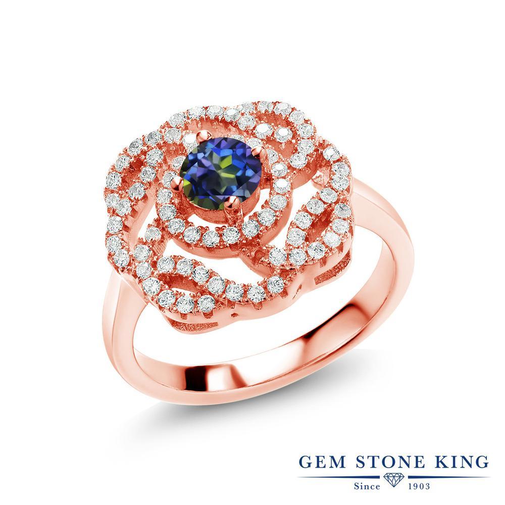 1.53カラット 天然石 ミスティックトパーズ (ブルー) 指輪 レディース リング ピンクゴールド 加工 シルバー925 ブランド おしゃれ 青 小粒 クラスター 金属アレルギー対応