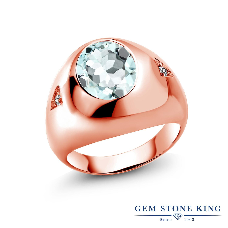 4.07カラット シミュレイテッド アクアマリン 指輪 レディース リング 天然 ダイヤモンド ピンクゴールド 加工 シルバー925 ブランド おしゃれ 水色 大粒 ごつめ 太め 太い プレゼント 女性 彼女 妻 誕生日