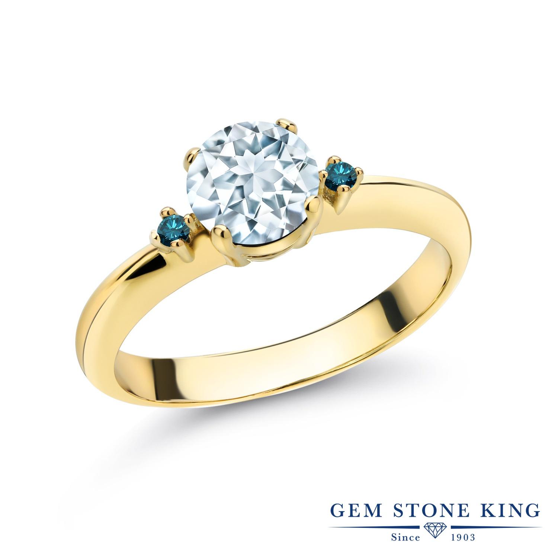 0.78カラット 天然 アクアマリン 指輪 レディース リング ブルーダイヤモンド イエローゴールド 加工 シルバー925 ブランド おしゃれ スリーストーン 水色 シンプル マルチストーン 天然石 3月 誕生石 婚約指輪 エンゲージリング