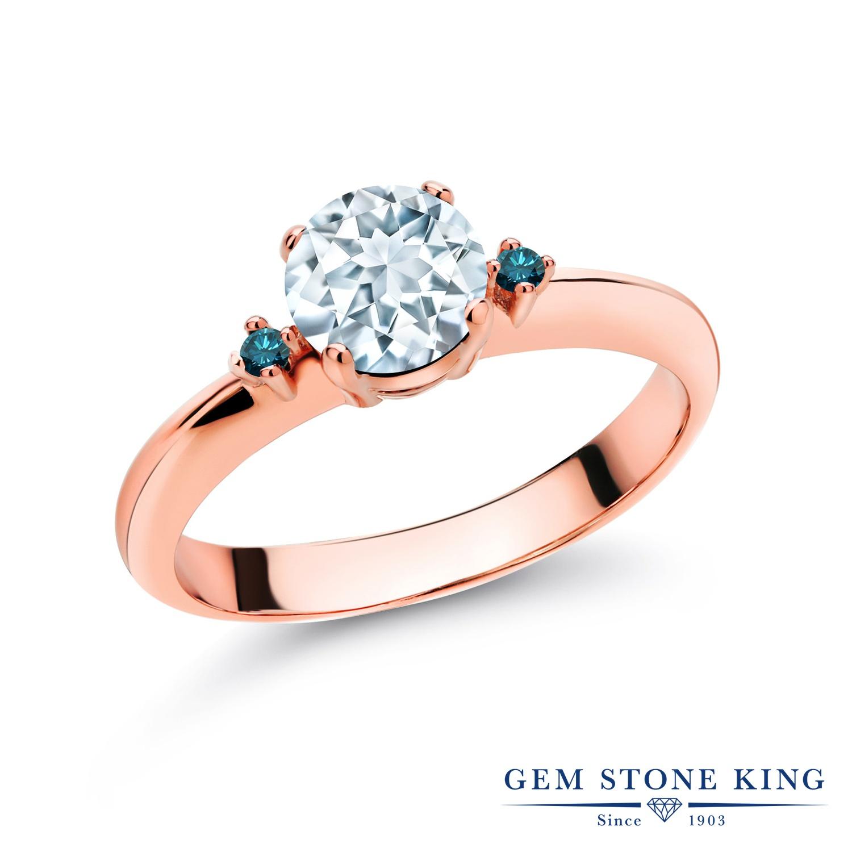 0.78カラット 天然 アクアマリン 指輪 レディース リング ブルーダイヤモンド ピンクゴールド 加工 シルバー925 ブランド おしゃれ スリーストーン 水色 シンプル マルチストーン 天然石 3月 誕生石 婚約指輪 エンゲージリング