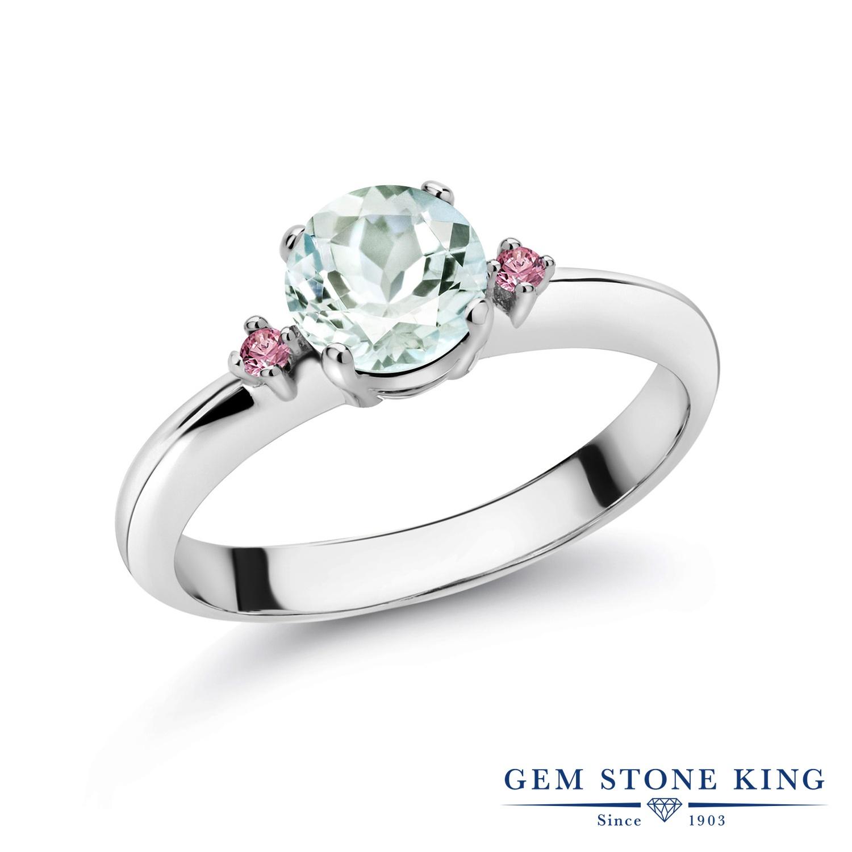 0.78カラット 天然 アクアマリン 指輪 レディース リング 合成ピンクダイヤモンド シルバー925 ブランド おしゃれ スリーストーン 水色 シンプル マルチストーン 天然石 3月 誕生石 婚約指輪 エンゲージリング