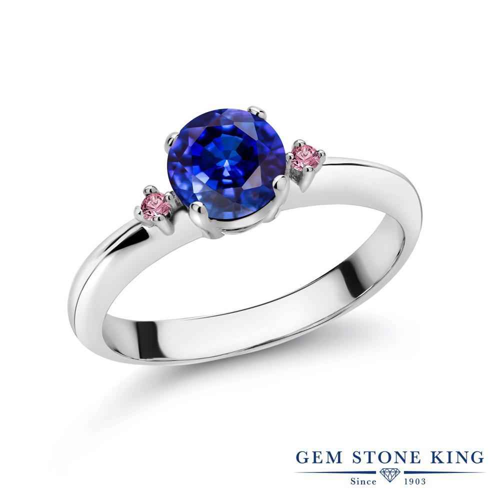 1.28カラット 天然 カイヤナイト (ブルー) 指輪 レディース リング 合成ピンクダイヤモンド シルバー925 ブランド おしゃれ スリーストーン 青 大粒 シンプル マルチストーン 天然石 婚約指輪 エンゲージリング
