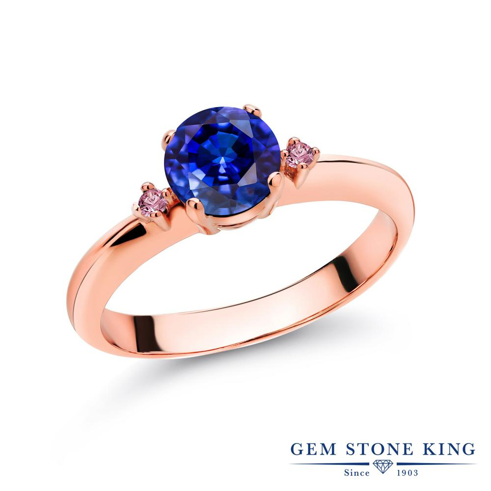 1.28カラット 天然 カイヤナイト (ブルー) 指輪 レディース リング 合成ピンクダイヤモンド ピンクゴールド 加工 シルバー925 ブランド おしゃれ スリーストーン 青 大粒 シンプル マルチストーン 天然石 婚約指輪 エンゲージリング