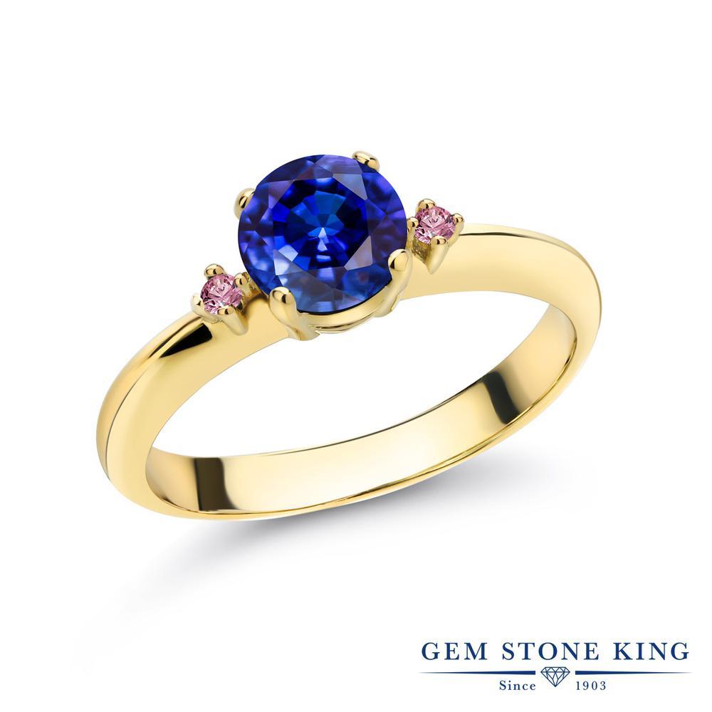 1.28カラット 天然 カイヤナイト (ブルー) 指輪 レディース リング 合成ピンクダイヤモンド イエローゴールド 加工 シルバー925 ブランド おしゃれ スリーストーン 青 大粒 シンプル マルチストーン 天然石 婚約指輪 エンゲージリング