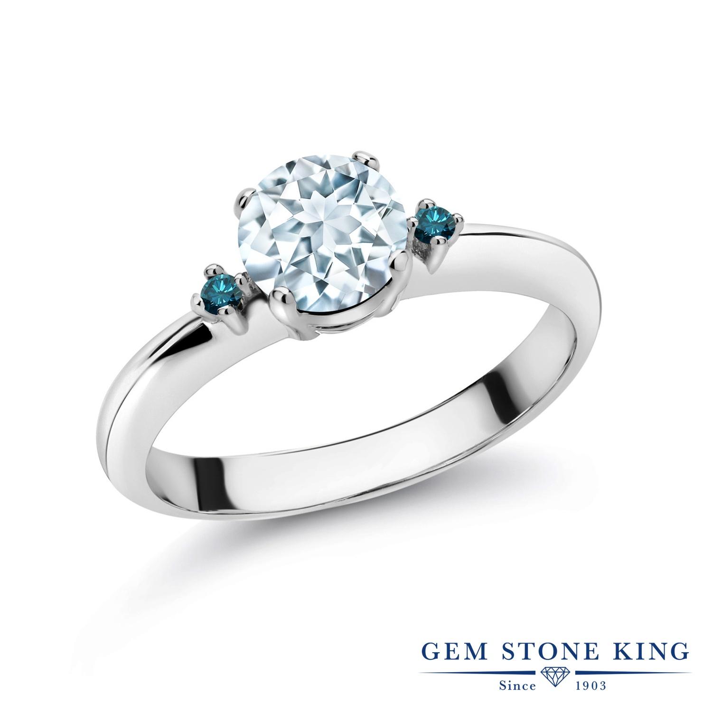 0.78カラット 天然 アクアマリン 指輪 レディース リング ブルーダイヤモンド シルバー925 ブランド おしゃれ スリーストーン 水色 シンプル マルチストーン 天然石 3月 誕生石 婚約指輪 エンゲージリング