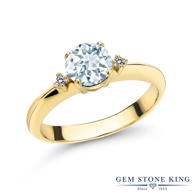 0.78カラット 天然 アクアマリン 指輪 レディース リング ダイヤモンド イエローゴールド 加工 シルバー925 ブランド おしゃれ スリーストーン 水色 シンプル マルチストーン 天然石 3月 誕生石 婚約指輪 エンゲージリング