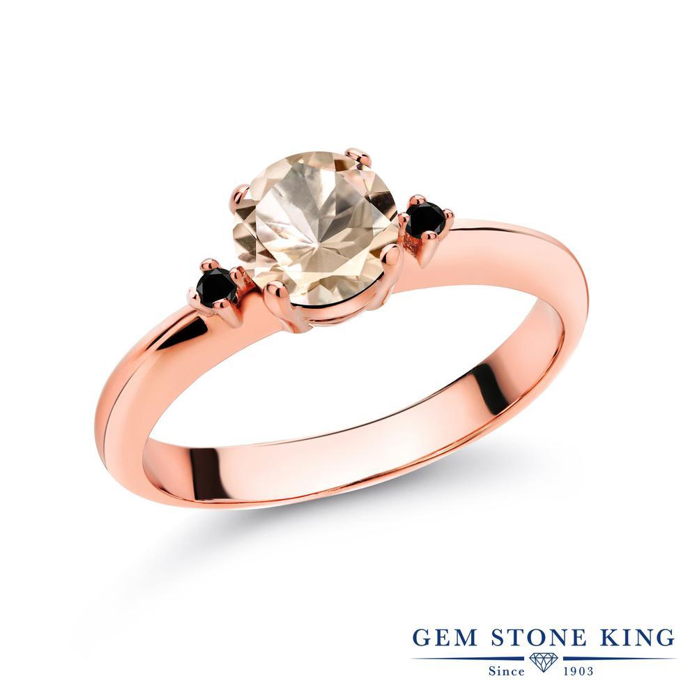 0.63カラット 天然 モルガナイト (ピーチ) 指輪 レディース リング ブラックダイヤモンド ピンクゴールド 加工 シルバー925 ブランド おしゃれ スリーストーン シンプル マルチストーン 天然石 3月 誕生石 婚約指輪 エンゲージリング