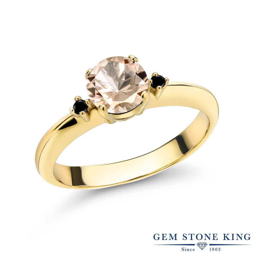 0.63カラット 天然 モルガナイト (ピーチ) 指輪 レディース リング ブラックダイヤモンド イエローゴールド 加工 シルバー925 ブランド おしゃれ スリーストーン シンプル マルチストーン 天然石 3月 誕生石 婚約指輪 エンゲージリング