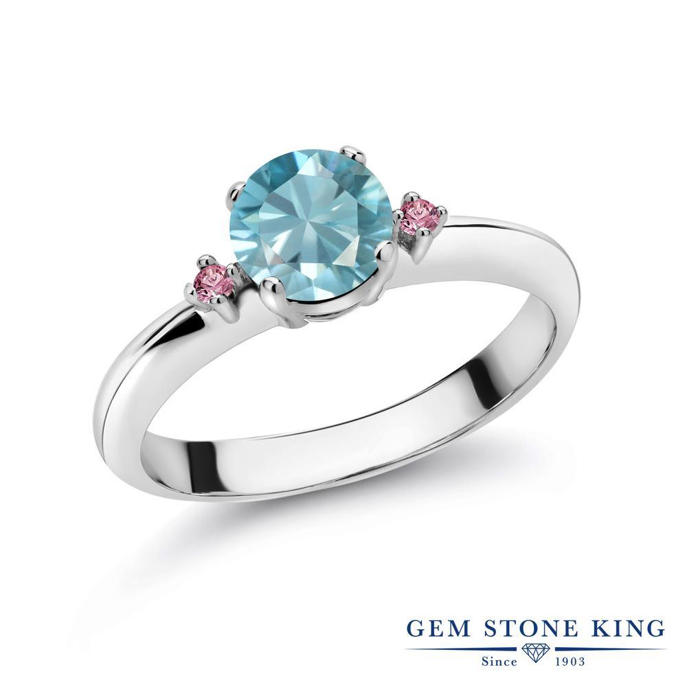 1.23カラット 天然石 ブルージルコン 指輪 レディース リング 合成ピンクダイヤモンド シルバー925 ブランド おしゃれ スリーストーン 青 大粒 シンプル マルチストーン 12月 誕生石 婚約指輪 エンゲージリング