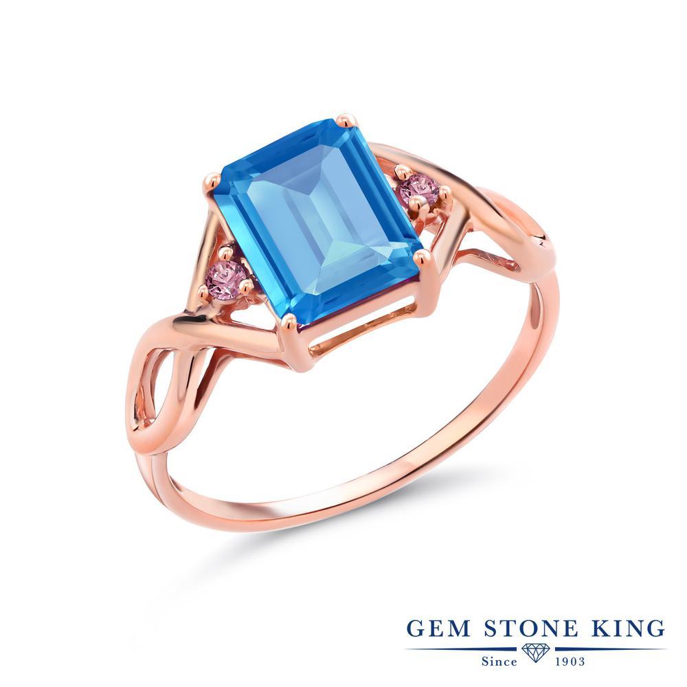 2.53カラット 天然 スイスブルートパーズ 指輪 レディース リング 合成ピンクダイヤモンド ピンクゴールド 加工 シルバー925 ブランド おしゃれ 四角い ツイスト ねじれ 透かし 大粒 かっこいい ダブルストーン 天然石 11月 誕生石 金属アレルギー対応