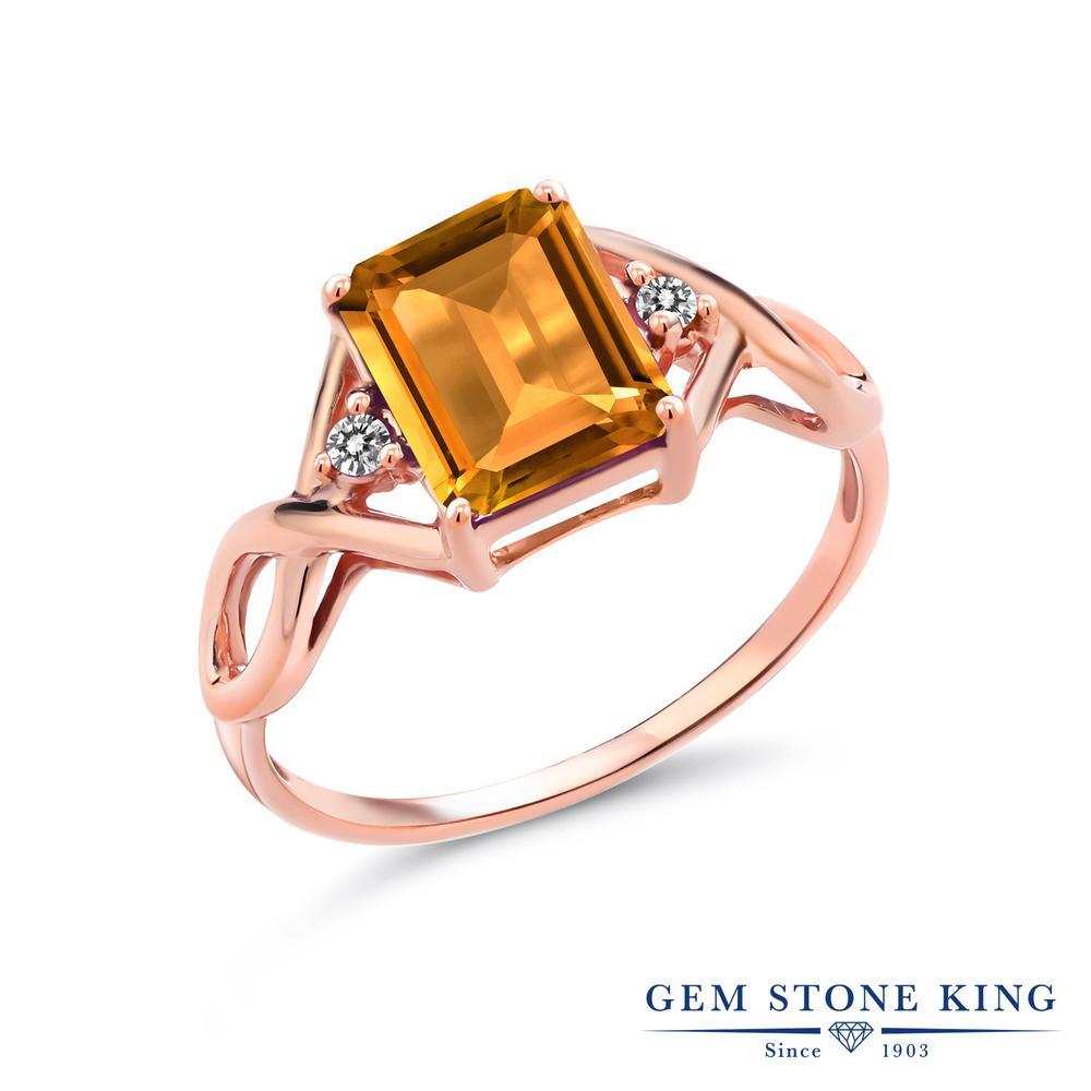 2.36カラット 天然 シトリン 指輪 レディース リング ダイヤモンド ピンクゴールド 加工 シルバー925 ブランド おしゃれ 四角い ツイスト ねじれ 透かし 黄色 大粒 かっこいい ダブルストーン 天然石 11月 誕生石 金属アレルギー対応