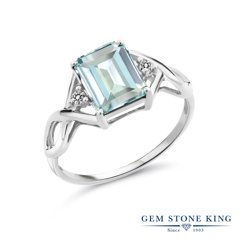 2.33カラット シミュレイテッド アクアマリン 指輪 レディース リング 天然 ダイヤモンド シルバー925 ブランド おしゃれ 四角い ツイスト ねじれ 透かし 水色 大粒 かっこいい ダブルストーン 金属アレルギー対応